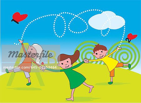 Front view of children playing in a park Stock Photo - Premium Royalty-Free, Image code: 645-02153464