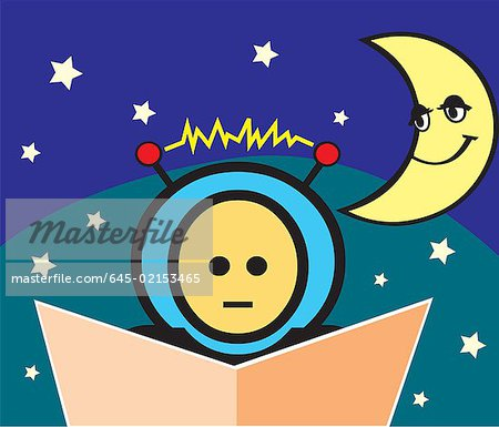 Boy reading book with crescent moon and stars Stock Photo - Premium Royalty-Free, Image code: 645-02153465