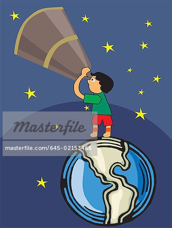 Boy looking through telescope towards sky Stock Photo - Premium Royalty-Free, Image code: 645-02153466
