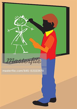 Side view of a boy making drawing on board Stock Photo - Premium Royalty-Free, Image code: 645-02153470