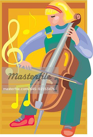 Front view of a girl playing violin Stock Photo - Premium Royalty-Free, Image code: 645-02153476
