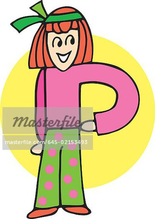 Front view of girl forming P Stock Photo - Premium Royalty-Free, Image code: 645-02153493