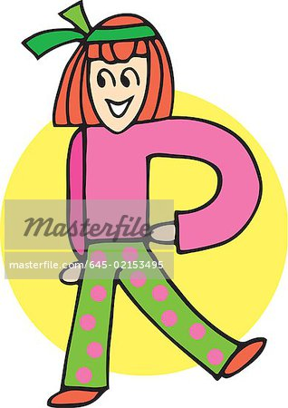 Front view of girl forming alphabet R Stock Photo - Premium Royalty-Free, Image code: 645-02153495