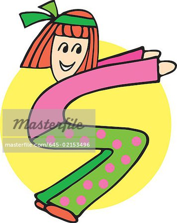Side view of girl forming S Stock Photo - Premium Royalty-Free, Image code: 645-02153496