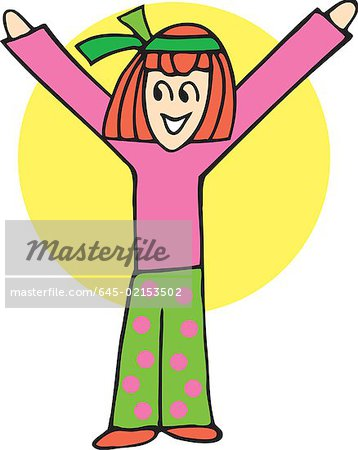 Front view of girl forming alphabet Y Stock Photo - Premium Royalty-Free, Image code: 645-02153502