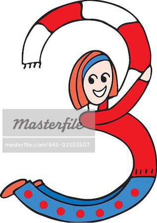 Side view of girl forming digit 3 Stock Photo - Premium Royalty-Free, Image code: 645-02153507