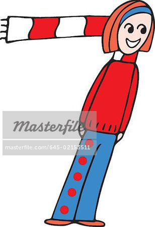 Front view of girl forming digit 7 Stock Photo - Premium Royalty-Free, Image code: 645-02153511