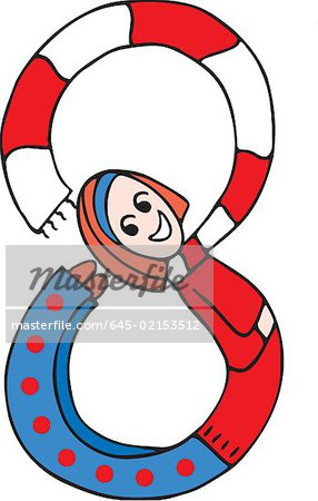 Side view of girl forming digit 8 Stock Photo - Premium Royalty-Free, Image code: 645-02153512