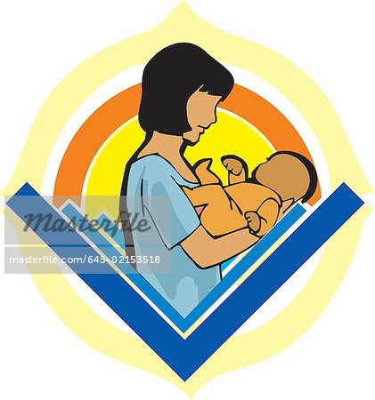 Side view of mother holding baby Stock Photo - Premium Royalty-Free, Image code: 645-02153518