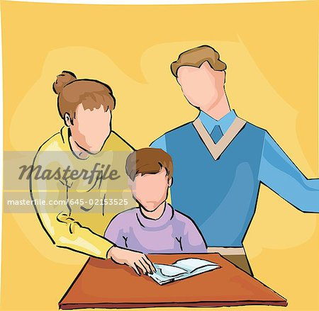 Parents teaching their child Stock Photo - Premium Royalty-Free, Image code: 645-02153525