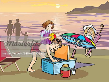 Children having picnic on beach Stock Photo - Premium Royalty-Free, Image code: 645-02153527