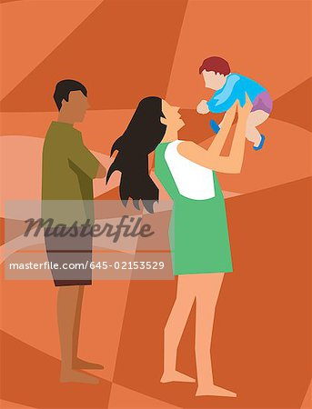 Side view of family with their baby Stock Photo - Premium Royalty-Free, Image code: 645-02153529