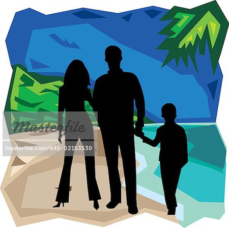 Front view of family standing together Stock Photo - Premium Royalty-Free, Image code: 645-02153530