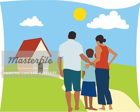 Rear view of family standing together Stock Photo - Premium Royalty-Free, Image code: 645-02153537