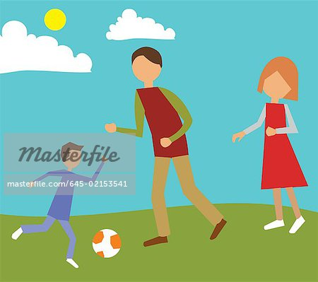 Family playing in park Stock Photo - Premium Royalty-Free, Image code: 645-02153541