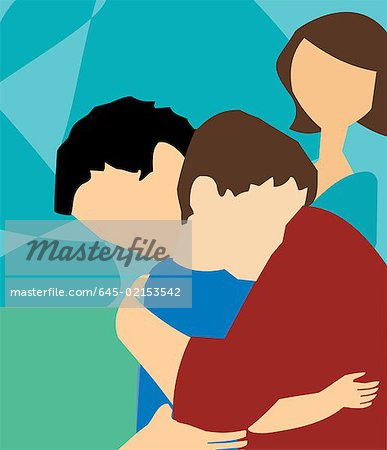 Side view of father hugging his son Stock Photo - Premium Royalty-Free, Image code: 645-02153542