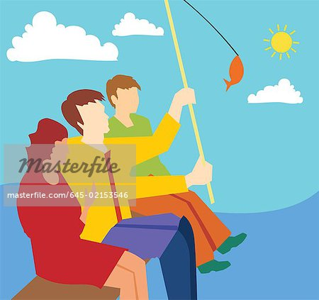 Side view of family fishing together Stock Photo - Premium Royalty-Free, Image code: 645-02153546