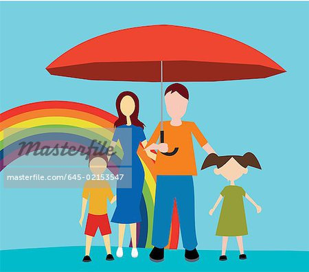 Front view of family standing with umbrella Stock Photo - Premium Royalty-Free, Image code: 645-02153547