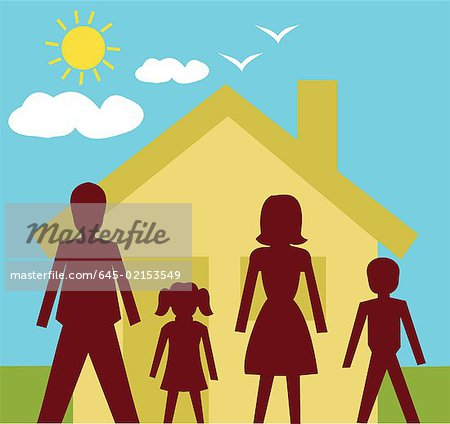 Front view of family standing in front of a house Stock Photo - Premium Royalty-Free, Image code: 645-02153549