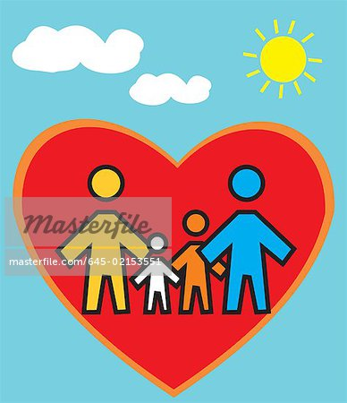Family Standing in heart shape Stock Photo - Premium Royalty-Free, Image code: 645-02153551