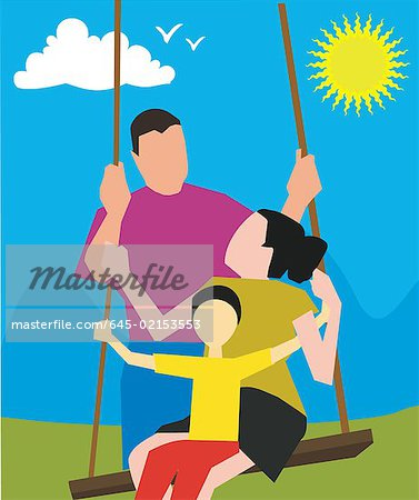 Parents with child on a swing Stock Photo - Premium Royalty-Free, Image code: 645-02153553