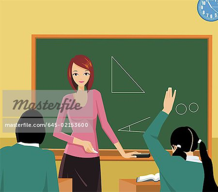 Front view of a teacher teaching in a class Stock Photo - Premium Royalty-Free, Image code: 645-02153600