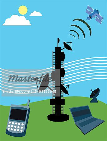 Telecom tower with satellite, laptop and mobile phone