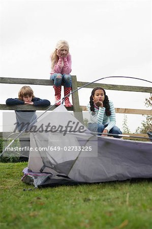 Children with tent Stock Photo - Premium Royalty-Free, Image code: 649-02733225