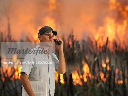Worker With Burning Sugar Cane Stock Photo - Premium Royalty-Free, Image code: 649-03078208