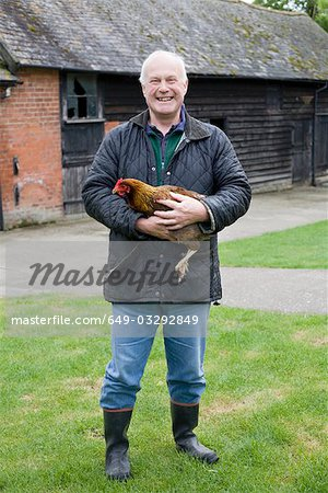 Farmer holding chicken Stock Photo - Premium Royalty-Free, Image code: 649-03292849