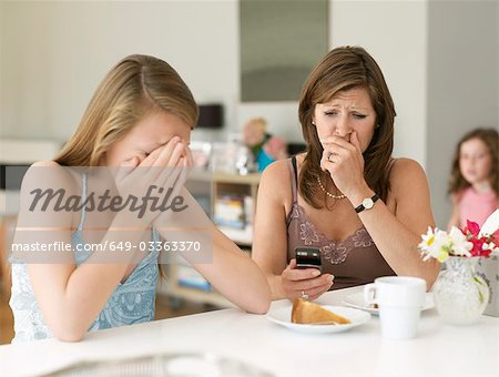 mother sees cyber bullying on cellphone Stock Photo - Premium Royalty-Free, Image code: 649-03363370