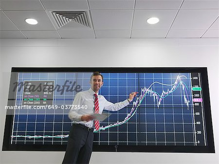 Businessman with graph on screen Stock Photo - Premium Royalty-Free, Image code: 649-03773540