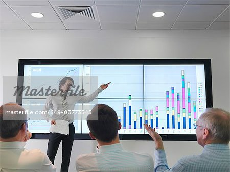 Business meeting with graphs on screen Stock Photo - Premium Royalty-Free, Image code: 649-03773543