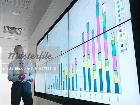 Businessman with graphs on screen Stock Photo - Premium Royalty-Free, Image code: 649-03773548