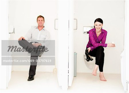 Male and female relax in toilets Stock Photo - Premium Royalty-Free, Image code: 649-03797619