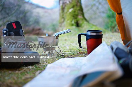 Cooking stove at campsite Stock Photo - Premium Royalty-Free, Image code: 649-03858408