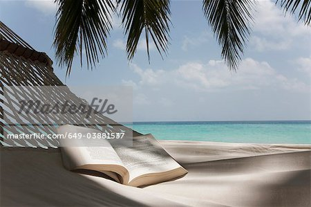 Open book in hammock on beach Stock Photo - Premium Royalty-Free, Image code: 649-03881537