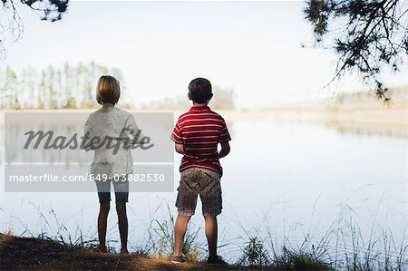Children standing by lake Stock Photo - Premium Royalty-Free, Image code: 649-03882530