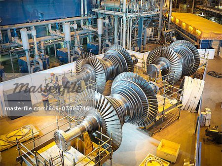 Workers with turbines in power station Stock Photo - Premium Royalty-Free, Image code: 649-03883746