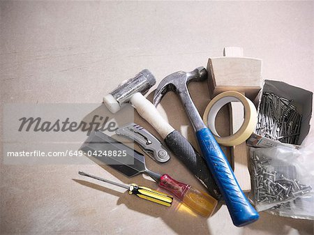 Assorted tools on work surface Stock Photo - Premium Royalty-Free, Image code: 649-04248825