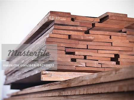 Close up of planks of wood in joinery Stock Photo - Premium Royalty-Free, Image code: 649-04248832