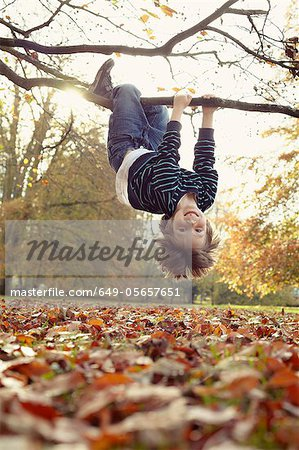 Boy playing on tree outdoors Stock Photo - Premium Royalty-Free, Image code: 649-05657651