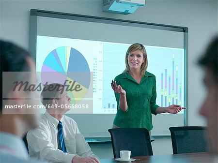 Businesswoman with projection in meeting Stock Photo - Premium Royalty-Free, Image code: 649-05658058