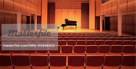 Piano on stage in empty theater Stock Photo - Premium Royalty-Free, Image code: 649-05658313
