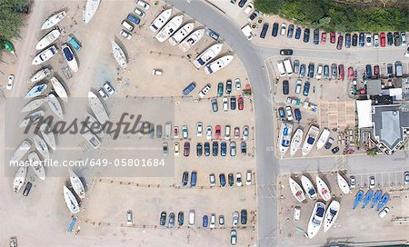 Aerial view of dock and parking lot Stock Photo - Premium Royalty-Free, Image code: 649-05801684