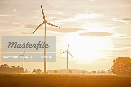 Wind turbines in rural landscape Stock Photo - Premium Royalty-Free, Image code: 649-05820245