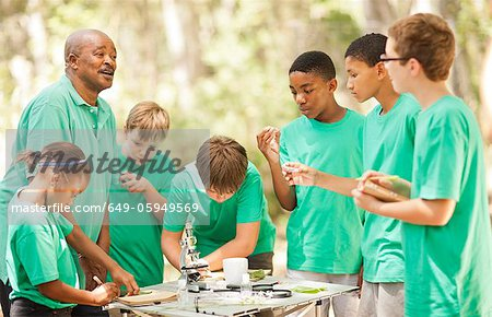 Students examining plants with teacher Stock Photo - Premium Royalty-Free, Image code: 649-05949569