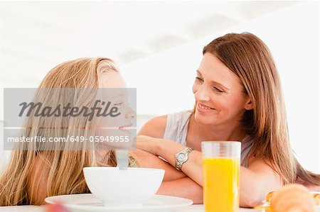Mother talking to daughter at breakfast Stock Photo - Premium Royalty-Free, Image code: 649-05949955
