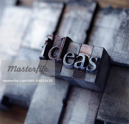 "Lead type spelling ""ideas"" Stock Photo - Premium Royalty-Free, Image code: 649-06001430"