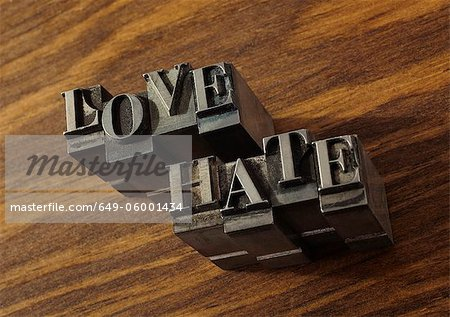 "Lead type spelling ""love"" and ""hate"" Stock Photo - Premium Royalty-Free, Image code: 649-06001434"
